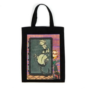 "Black Small Tote Bag with ""Boba Ferret"" design"