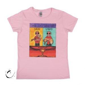 Ladies Large T-Shirt Light Pink 'Three States of a Ferret' design