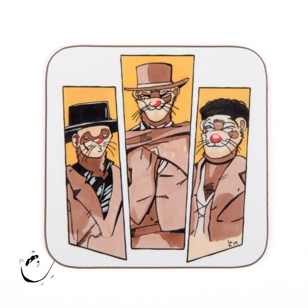 """Coaster with artwork inspired by """"The Good, The Bad, & The Ugly"""" film, but with ferret faces."""